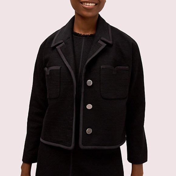 Kate Spade tweed pocket jacket in black